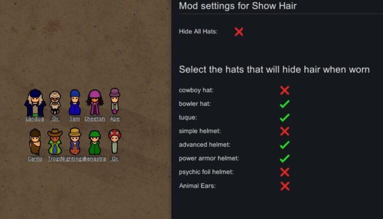 [KV] Show Hair With Hats or Hide All Hats — 1.0 - RimWorld мод (изображение 2)